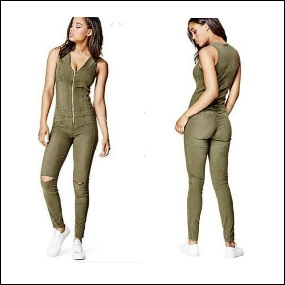 d76289d097a Guess Sz 2 Maxine Zip Up Jumpsuit Army Green NWT